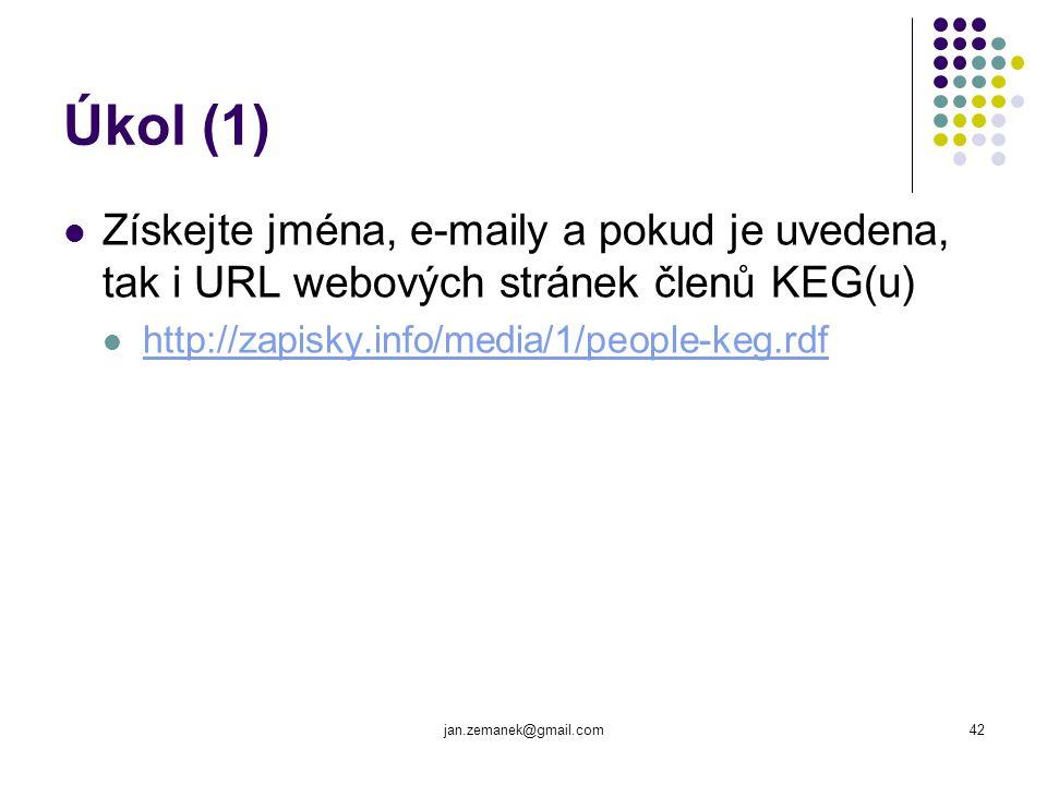 Úkol (1) Získejte jména, e-maily a pokud je uvedena, tak i URL webových stránek členů KEG(u) http://zapisky.info/media/1/people-keg.rdf.
