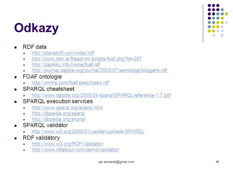 Odkazy RDF data FOAF ontologie SPARQL cheatsheet