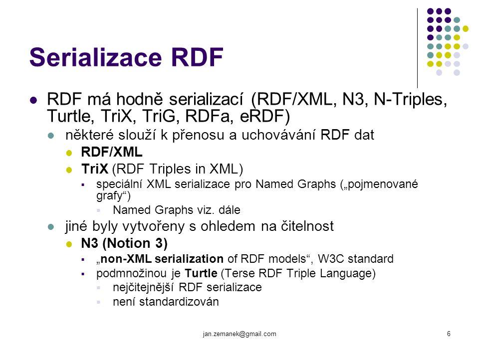 Serializace RDF RDF má hodně serializací (RDF/XML, N3, N-Triples, Turtle, TriX, TriG, RDFa, eRDF) některé slouží k přenosu a uchovávání RDF dat.