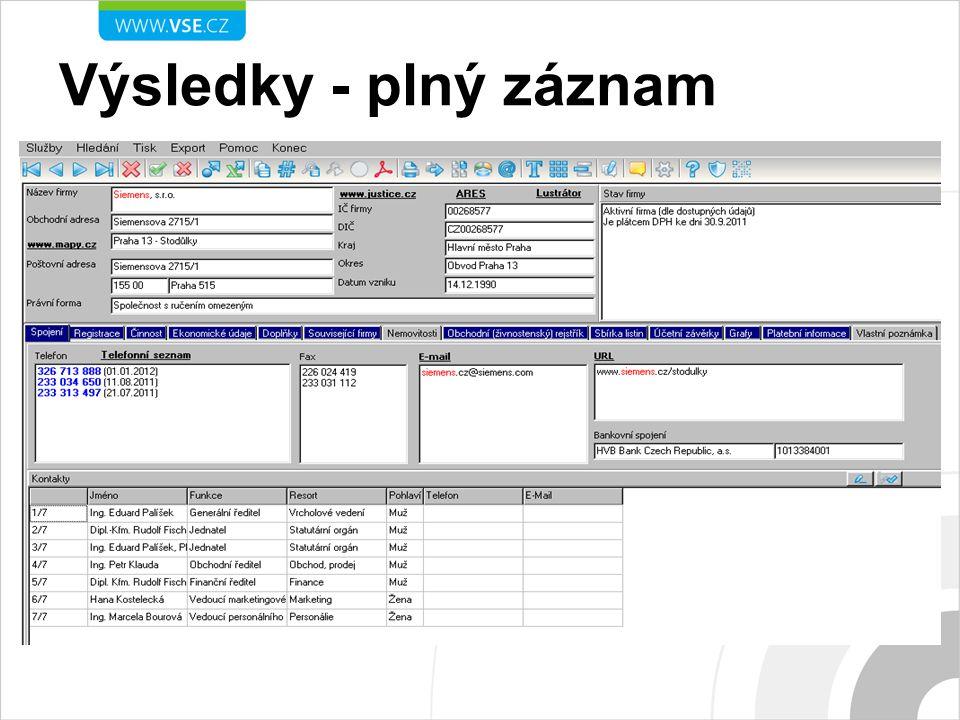 Výsledky - plný záznam Plný záznam firmy Siemens, s.r.o.