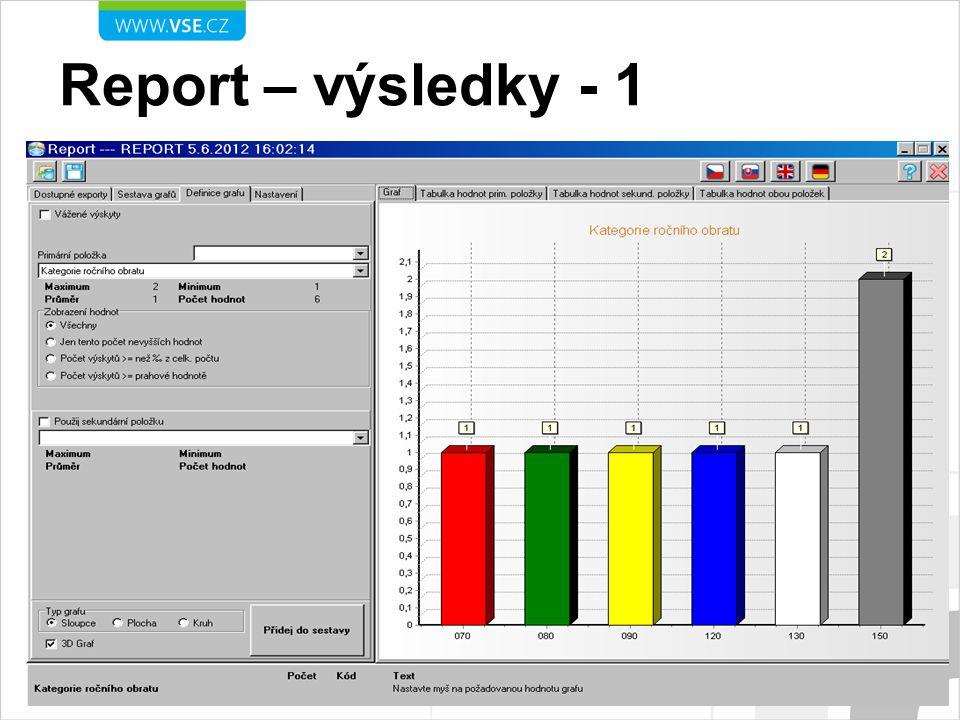 Report – výsledky - 1 Kategorie ročního obratu
