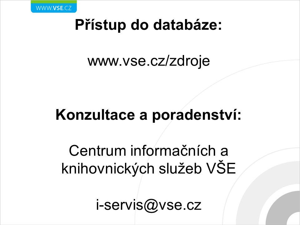 Přístup do databáze: www. vse