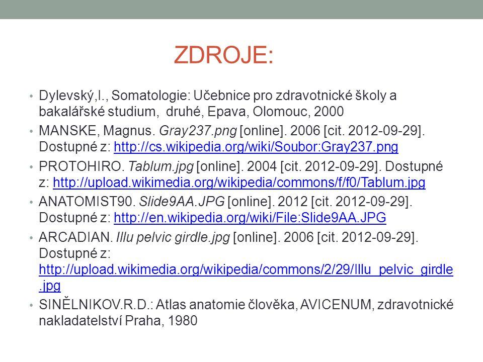 ZDROJE: Dylevský,I., Somatologie: Učebnice pro zdravotnické školy a bakalářské studium, druhé, Epava, Olomouc, 2000.