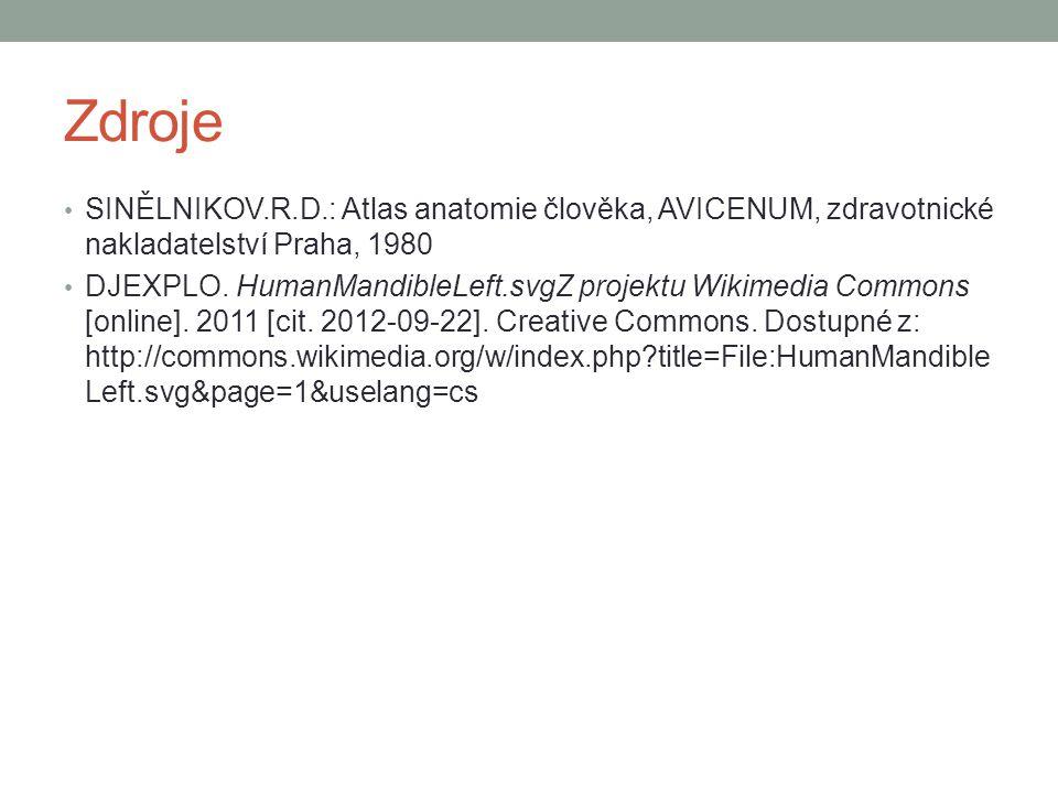 Zdroje SINĚLNIKOV.R.D.: Atlas anatomie člověka, AVICENUM, zdravotnické nakladatelství Praha, 1980.
