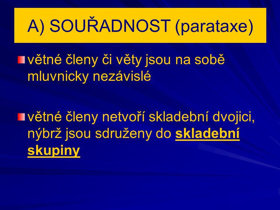 A) SOUŘADNOST (parataxe)