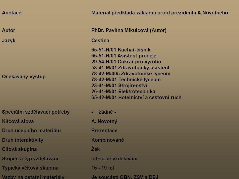 Anotace Materiál předkládá základní profil prezidenta A.Novotného. Autor. PhDr. Pavlína Mikulcová (Autor)