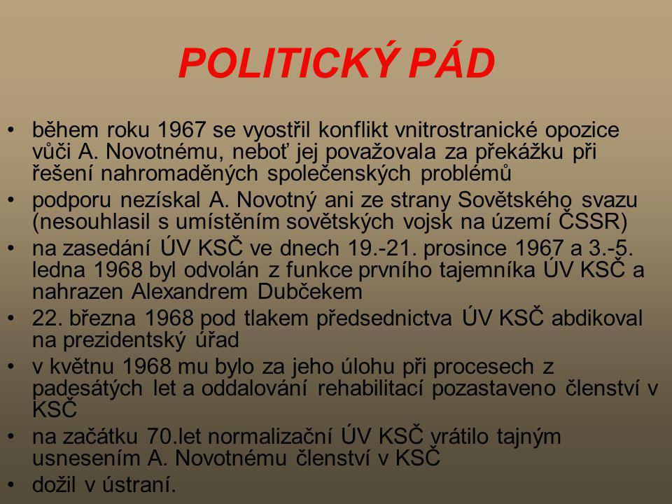 POLITICKÝ PÁD