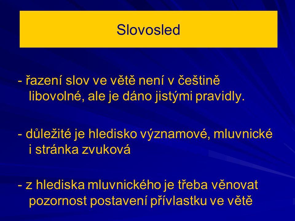 Slovosled - řazení slov ve větě není v češtině libovolné, ale je dáno jistými pravidly.