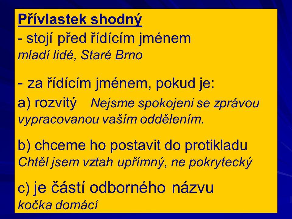 Přívlastek shodný - stojí před řídícím jménem mladí lidé, Staré Brno - za řídícím jménem, pokud je: a) rozvitý Nejsme spokojeni se zprávou vypracovanou vaším oddělením.