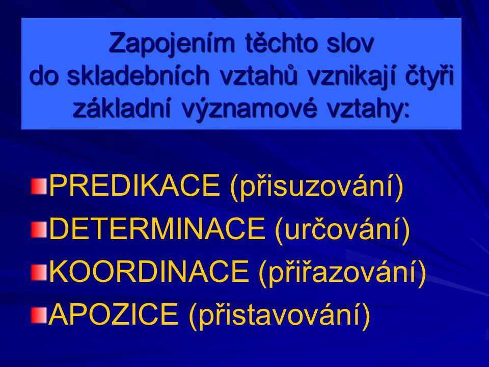 PREDIKACE (přisuzování) DETERMINACE (určování)