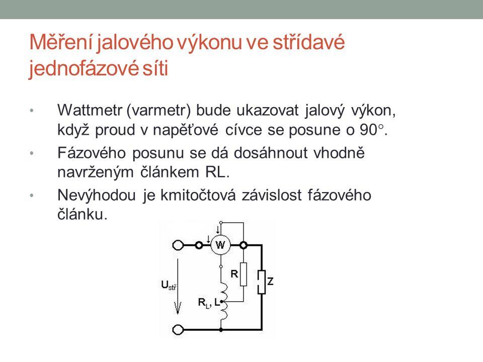 Měření jalového výkonu ve střídavé jednofázové síti