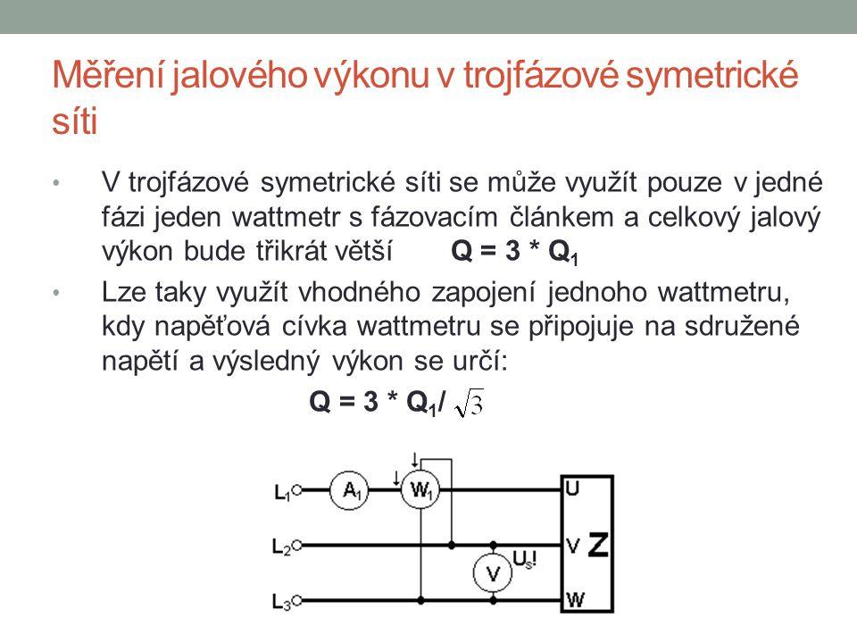 Měření jalového výkonu v trojfázové symetrické síti