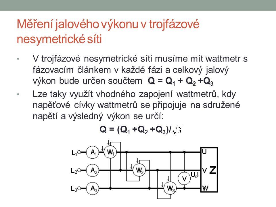 Měření jalového výkonu v trojfázové nesymetrické síti