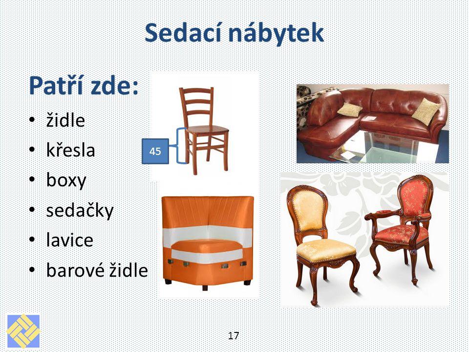 Sedací nábytek Patří zde: židle křesla boxy sedačky lavice