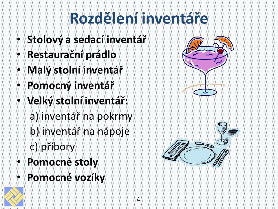 Rozdělení inventáře Stolový a sedací inventář Restaurační prádlo
