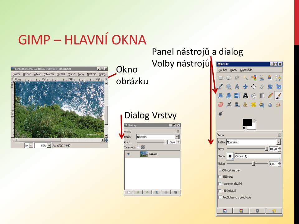 Gimp – hlavní okna Panel nástrojů a dialog Volby nástrojů Okno obrázku