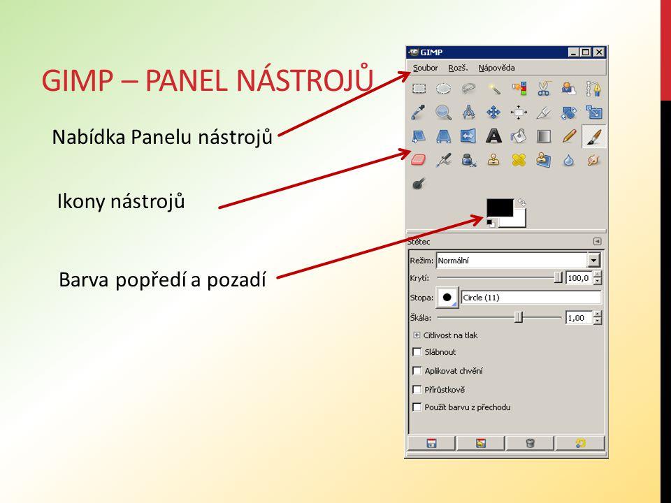 Gimp – panel nástrojů Nabídka Panelu nástrojů Ikony nástrojů