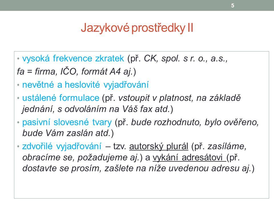 Jazykové prostředky II