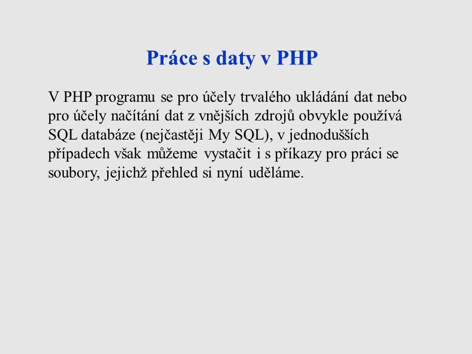 Práce s daty v PHP