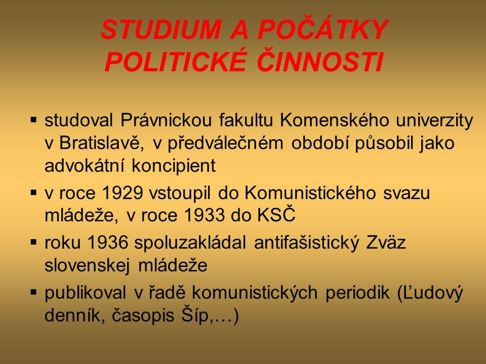 STUDIUM A POČÁTKY POLITICKÉ ČINNOSTI