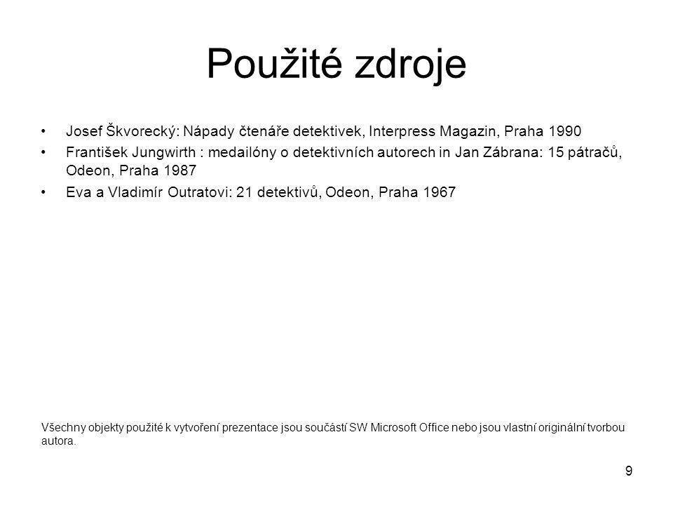 Použité zdroje Josef Škvorecký: Nápady čtenáře detektivek, Interpress Magazin, Praha 1990.