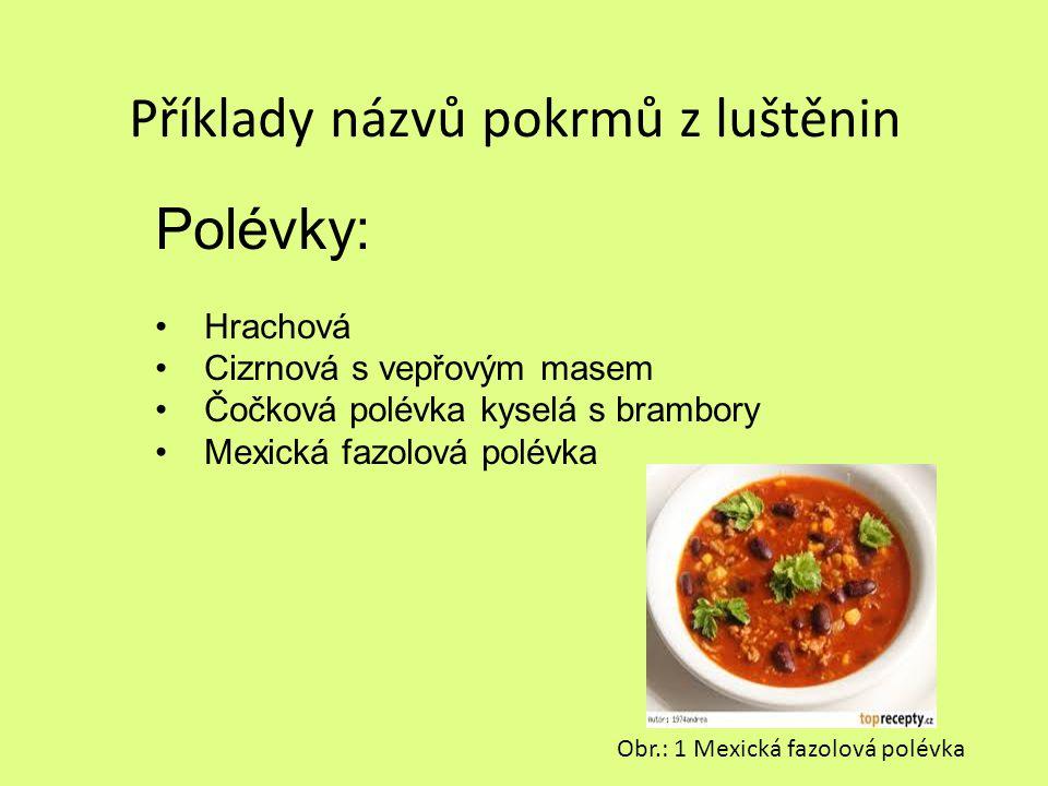 Příklady názvů pokrmů z luštěnin