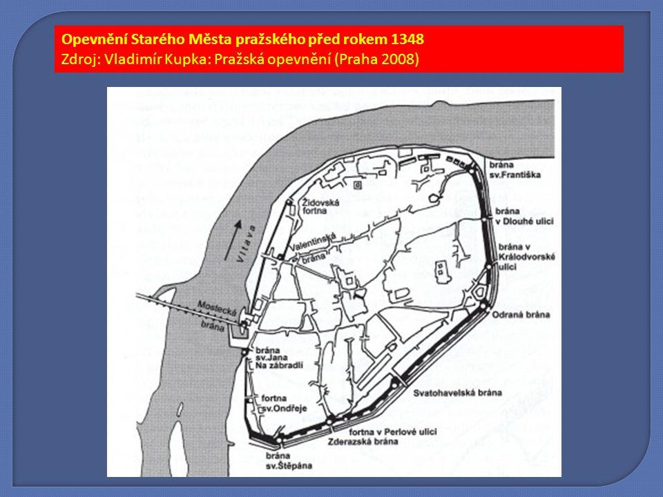 Opevnění Starého Města pražského před rokem 1348 Zdroj: Vladimír Kupka: Pražská opevnění (Praha 2008)