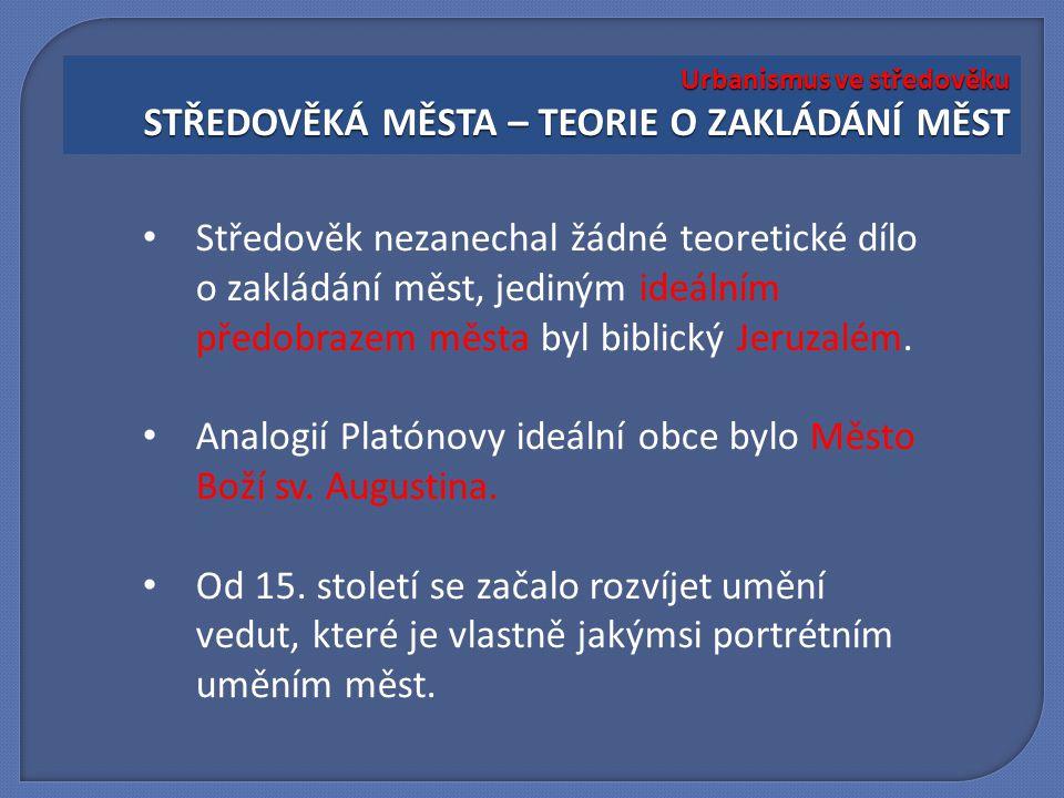 Analogií Platónovy ideální obce bylo Město Boží sv. Augustina.