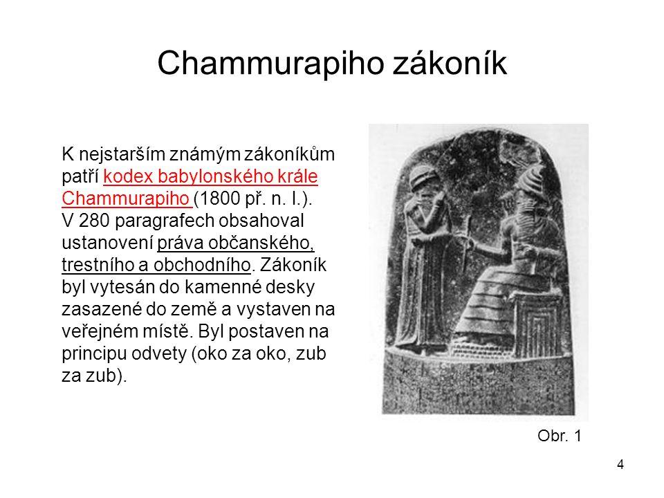 Chammurapiho zákoník K nejstarším známým zákoníkům patří kodex babylonského krále Chammurapiho (1800 př. n. l.).