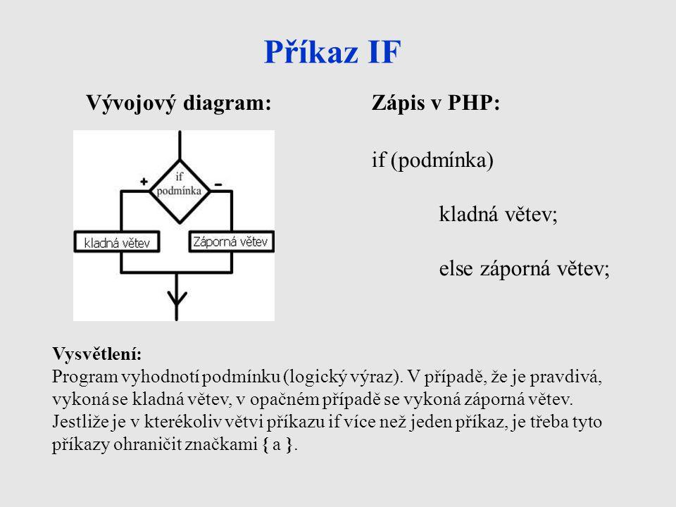 Příkaz IF Vývojový diagram: Zápis v PHP: if (podmínka) kladná větev;