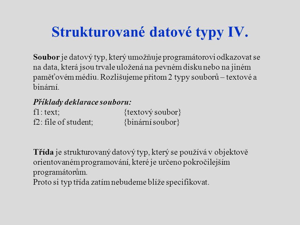 Strukturované datové typy IV.