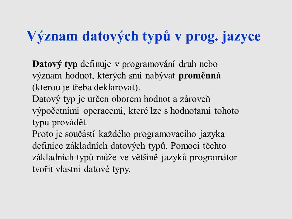 Význam datových typů v prog. jazyce