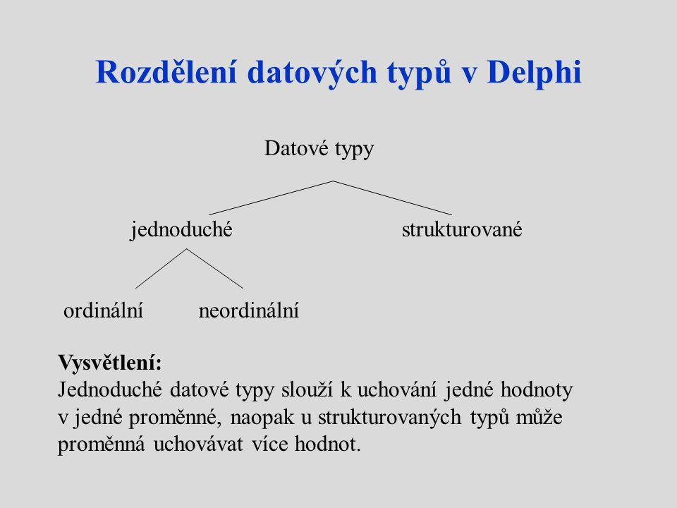 Rozdělení datových typů v Delphi