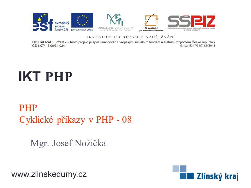 PHP Cyklické příkazy v PHP - 08