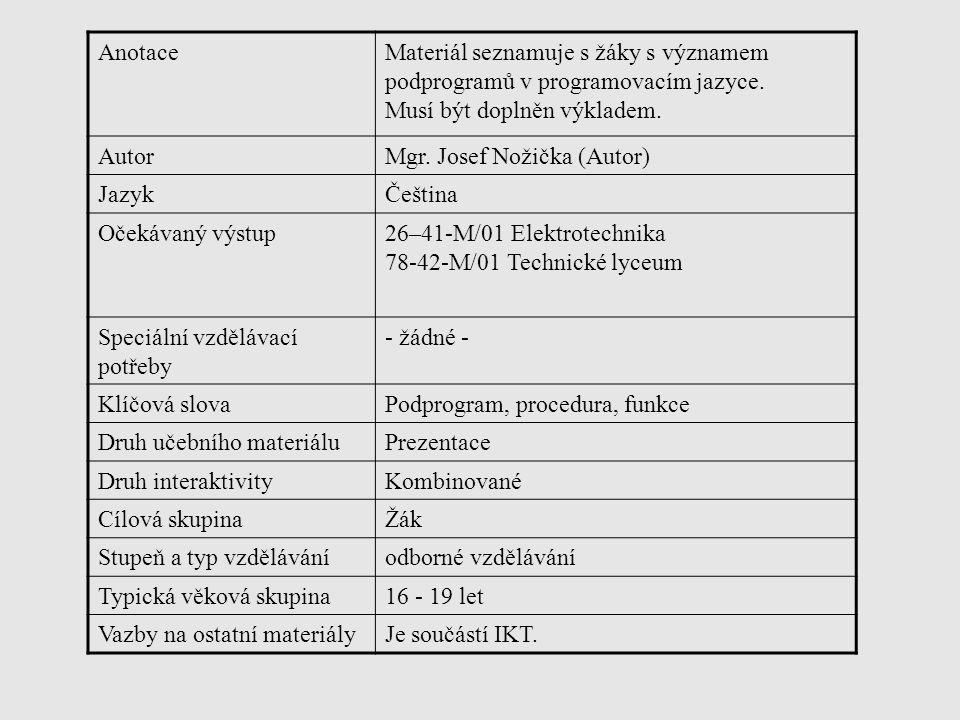 Anotace Materiál seznamuje s žáky s významem podprogramů v programovacím jazyce. Musí být doplněn výkladem.
