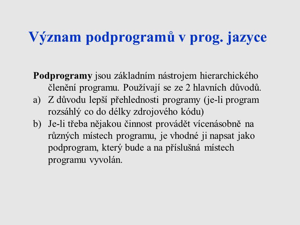 Význam podprogramů v prog. jazyce