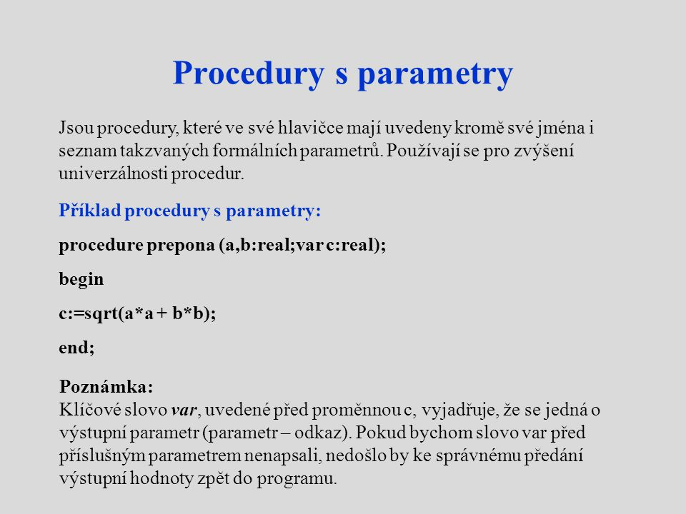 Procedury s parametry