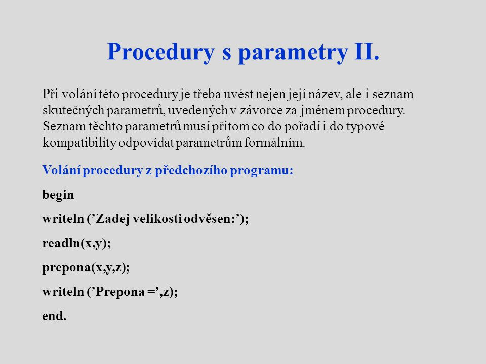 Procedury s parametry II.