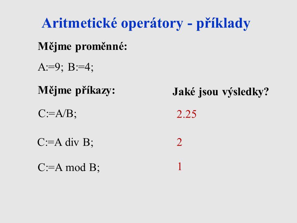 Aritmetické operátory - příklady