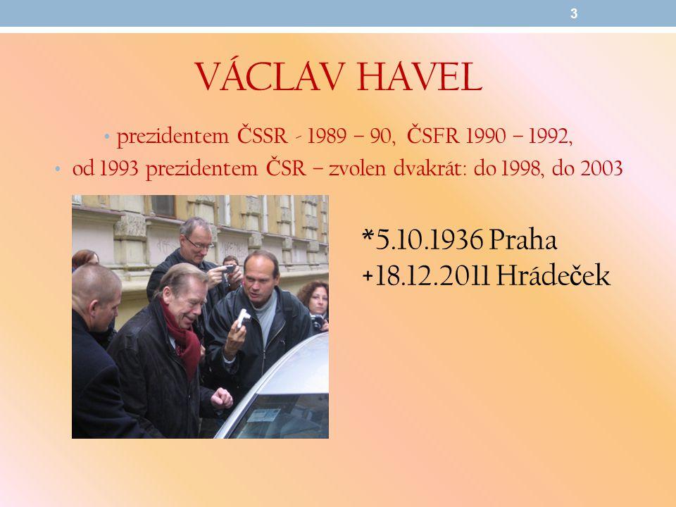 václav Havel *5.10.1936 Praha +18.12.2011 Hrádeček