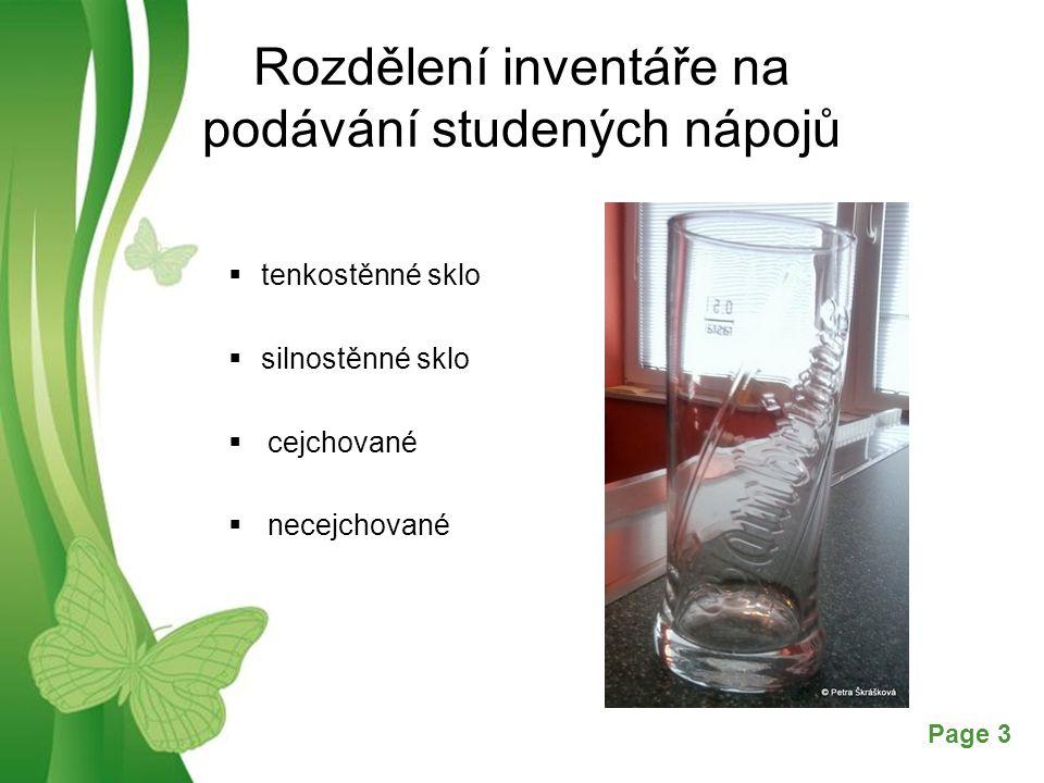 Rozdělení inventáře na podávání studených nápojů