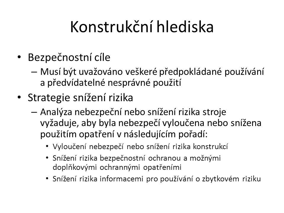 Konstrukční hlediska Bezpečnostní cíle Strategie snížení rizika