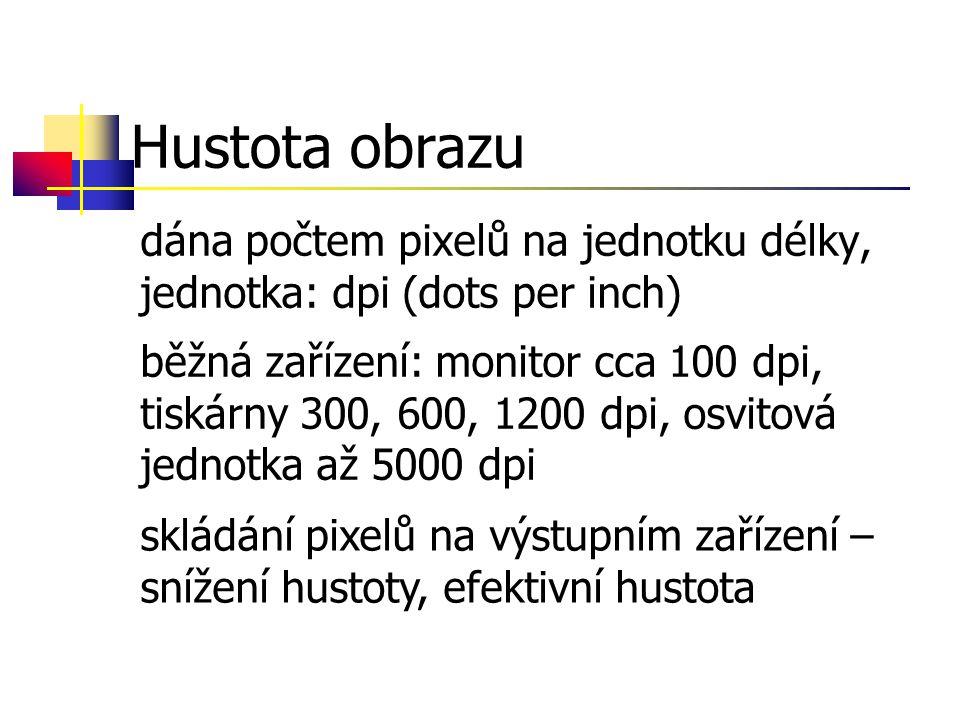 Hustota obrazu dána počtem pixelů na jednotku délky, jednotka: dpi (dots per inch)