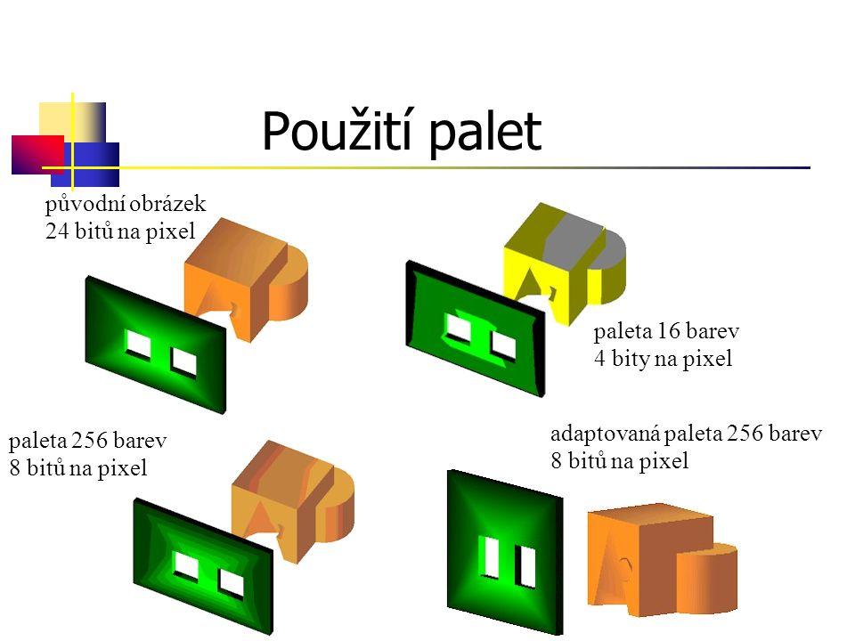 Použití palet původní obrázek 24 bitů na pixel paleta 16 barev