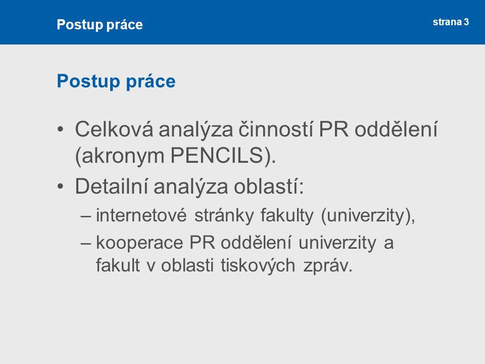 Celková analýza činností PR oddělení (akronym PENCILS).
