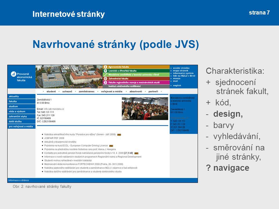 Navrhované stránky (podle JVS)