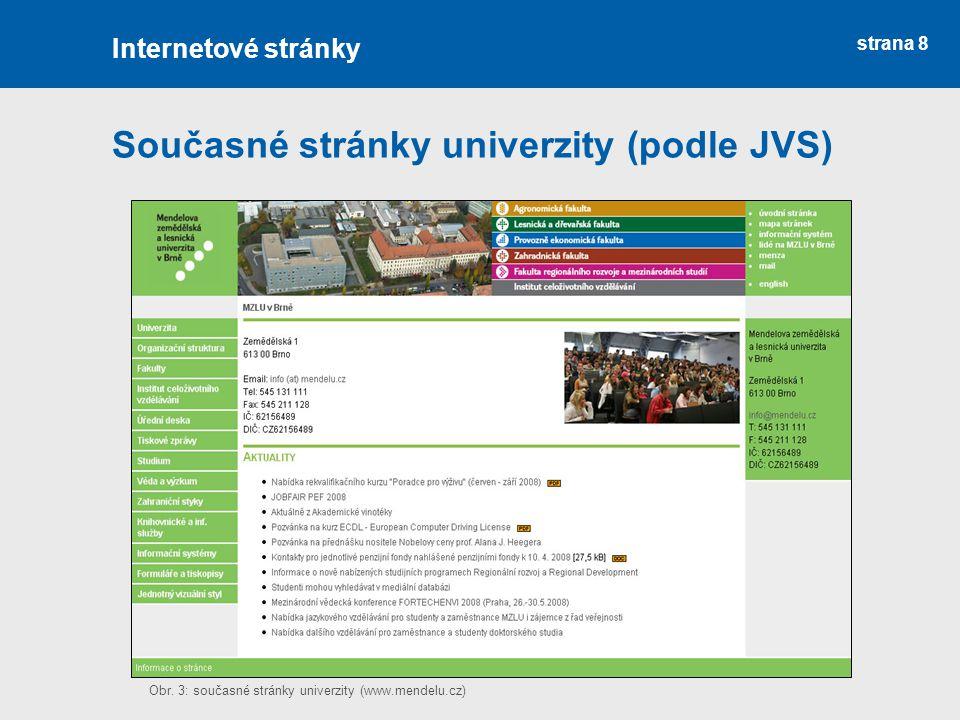 Současné stránky univerzity (podle JVS)