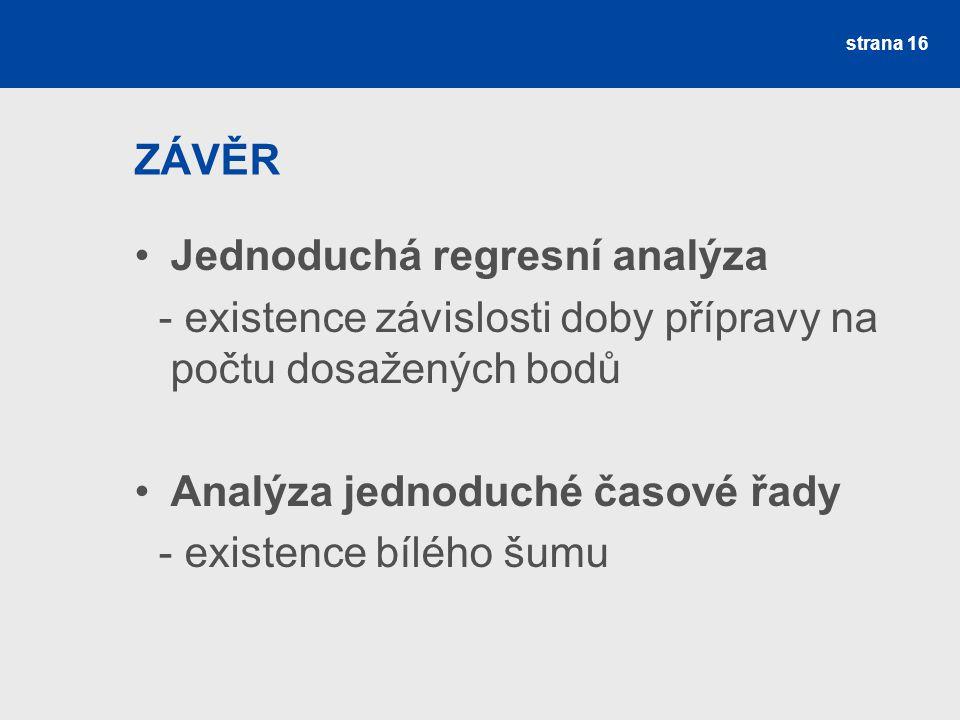 ZÁVĚR Jednoduchá regresní analýza. - existence závislosti doby přípravy na počtu dosažených bodů. Analýza jednoduché časové řady.