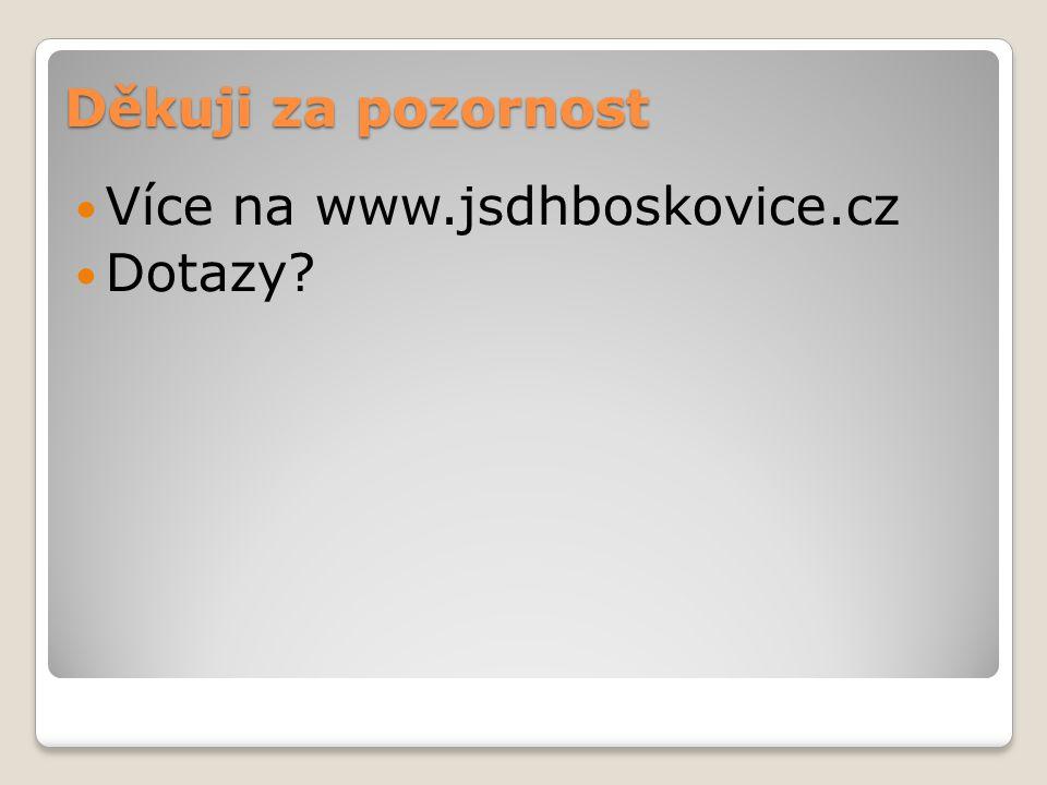 Děkuji za pozornost Více na www.jsdhboskovice.cz Dotazy