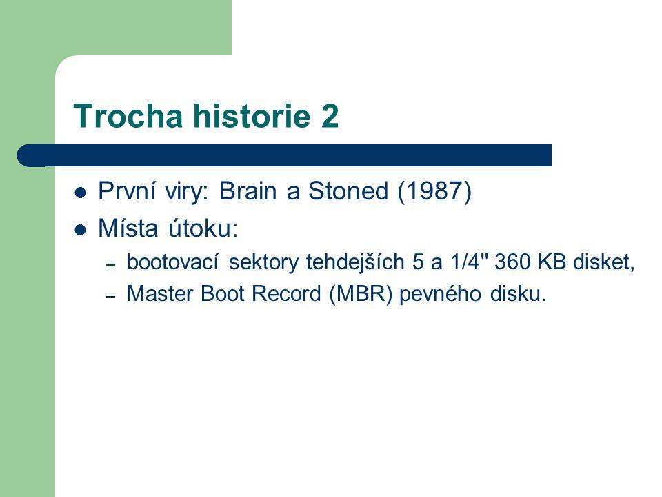 Trocha historie 2 První viry: Brain a Stoned (1987) Místa útoku: